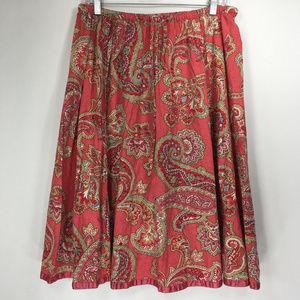 Liz Claiborne 8 Pink Beige Paisley Skirt